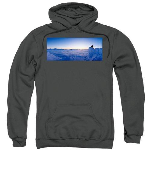 Silhouette Of Two Hikers Standing Sweatshirt