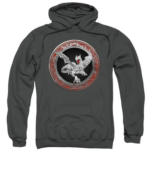Silver Guardian Dragon Over Red Velvet  Sweatshirt