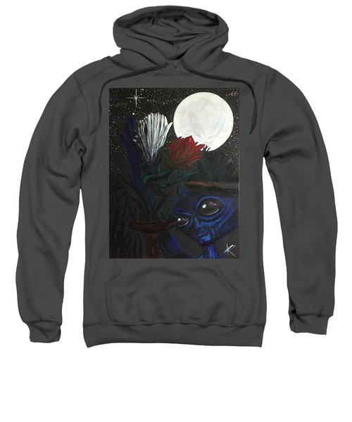 Similar Alien Appreciates Flowers By The Light Of The Full Moon. Sweatshirt