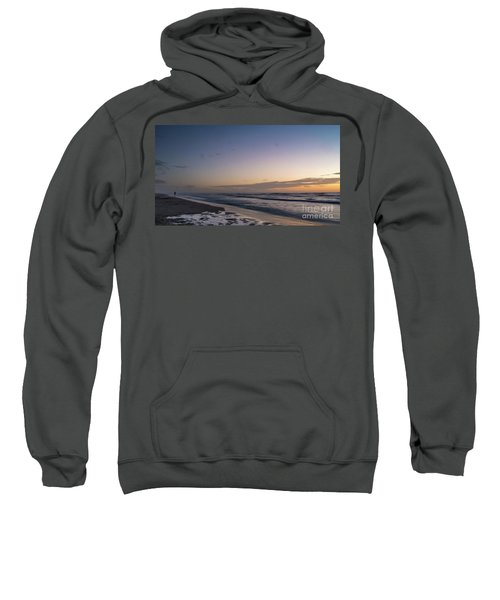 Single Man Walking On Beach With Sunset In The Background Sweatshirt