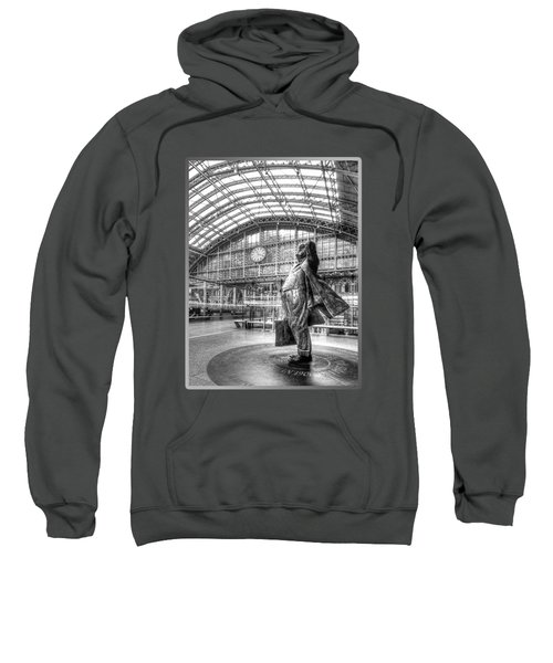Sir John Betjeman Statue And Clock At St Pancras Station In Black And White Sweatshirt