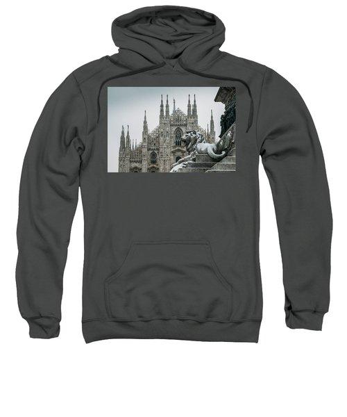 Snow At Milan's Duomo Cathedral  Sweatshirt