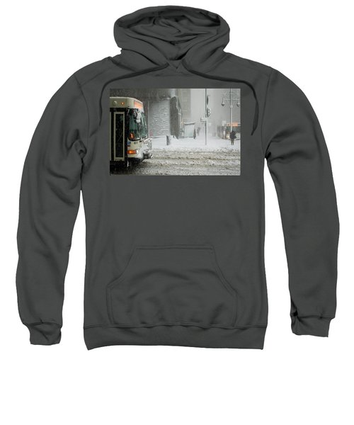 Sweatshirt featuring the photograph Snow Storm Bus Stop by Stephen Holst