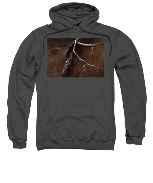 Snowy Branch With Wild Boars Sweatshirt