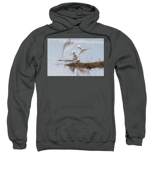 Snowy Egret Chasing His Dinner Sweatshirt