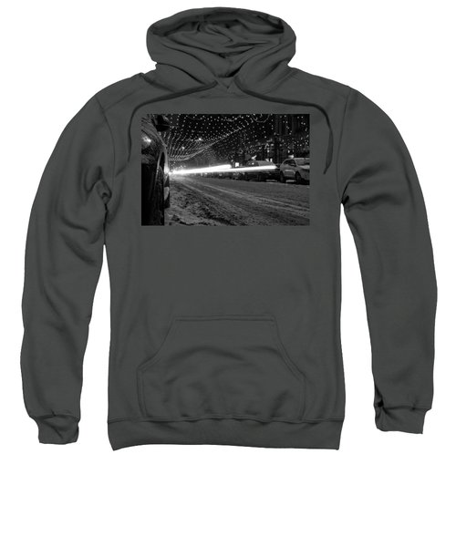 Sweatshirt featuring the photograph Snowy Night Light Trails by Stephen Holst