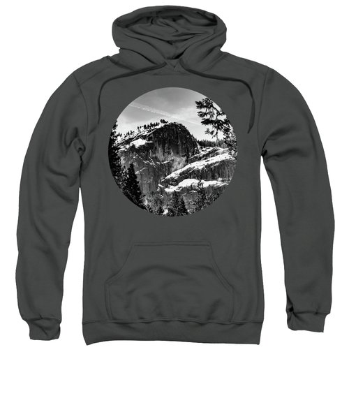 Snowy Sentinel, Black And White Sweatshirt