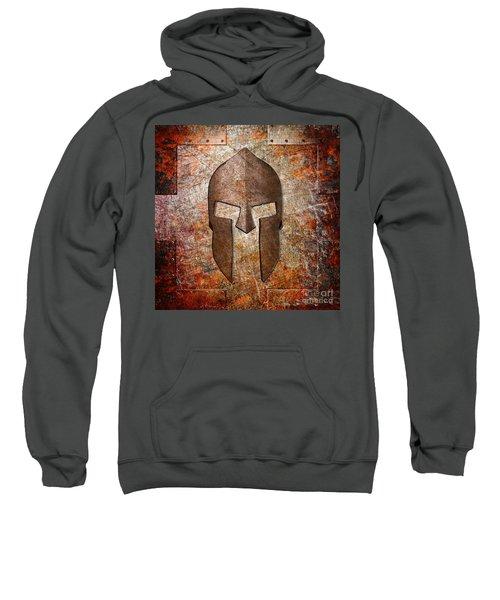 Spartan Helmet On Rusted Riveted Metal Sheet Sweatshirt