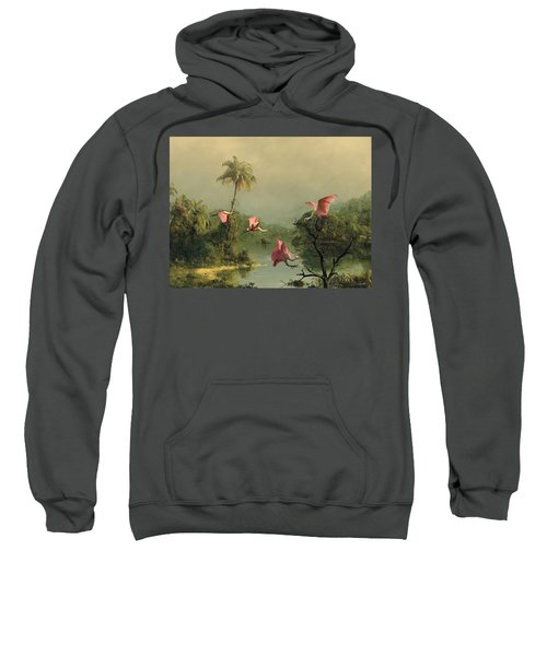 Spoonbills In The Mist Sweatshirt