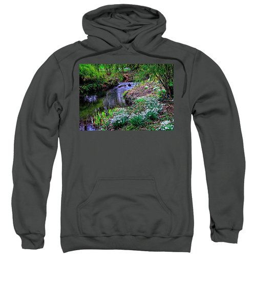 Spring Snowdrops By Stream Sweatshirt