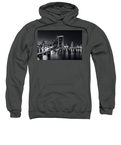 St Johns River Skyline By Night, Jacksonville, Florida In Black And White Sweatshirt