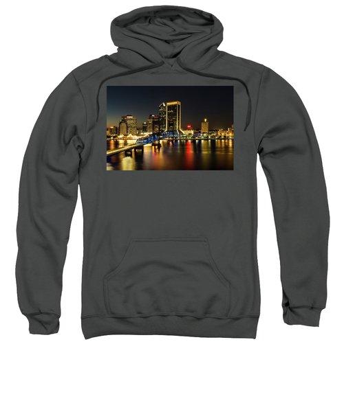 St Johns River Skyline By Night, Jacksonville, Florida Sweatshirt