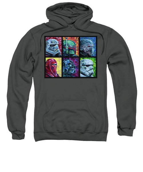 Sweatshirt featuring the painting Star Wars Helmet Series - Collage by Aaron Spong