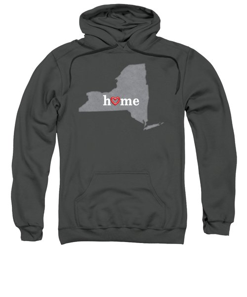 State Map Outline New York With Heart In Home Sweatshirt