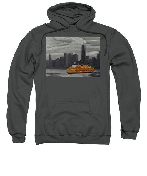 Staten Island Ferry Acrylic And Watercolor Painting Sweatshirt