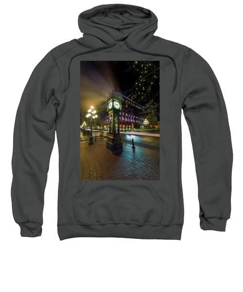 Steam Clock In Gastown Vancouver Bc At Night Sweatshirt
