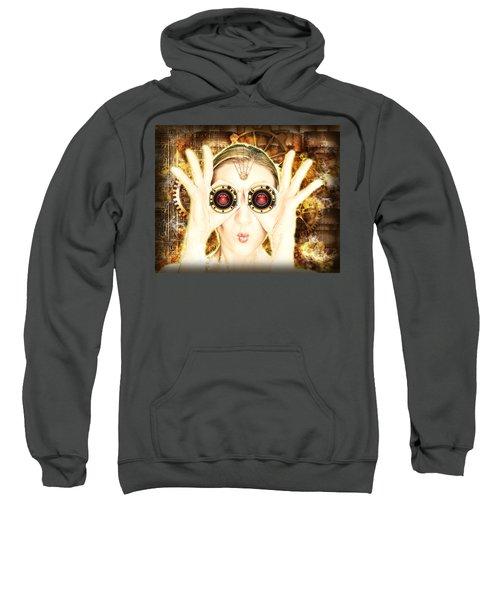 Steam Punk Lady With Bins Sweatshirt