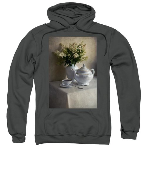 Still Life With White Tea Set And Bouquet Of White Flowers Sweatshirt