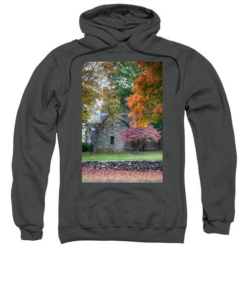 Stone Church In Pomfret Ct In Autumn Sweatshirt
