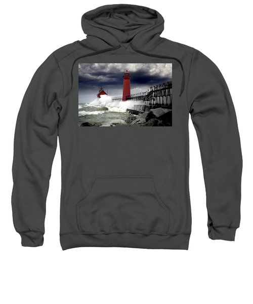 Storm At The Grand Haven Lighthouse Sweatshirt