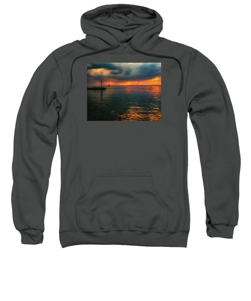 Storm In Lorain Ohio At The Lighthouse Sweatshirt
