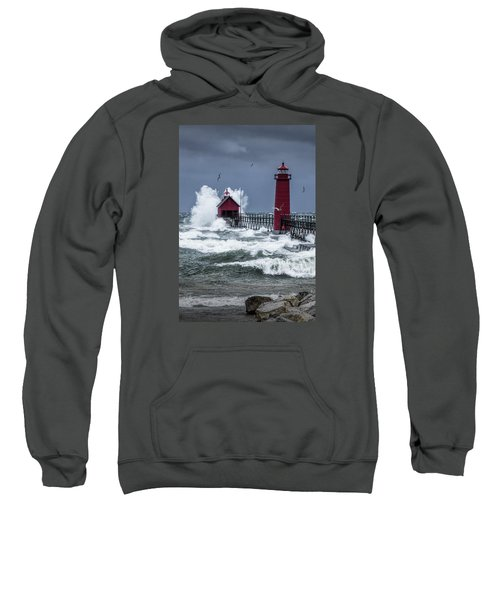 Storm On Lake Michigan By The Grand Haven Lighthouse With Flying Gulls Sweatshirt