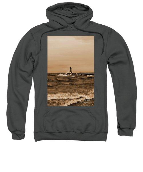 Storm Sandy Effects Menominee Lighthouse Sepia Sweatshirt