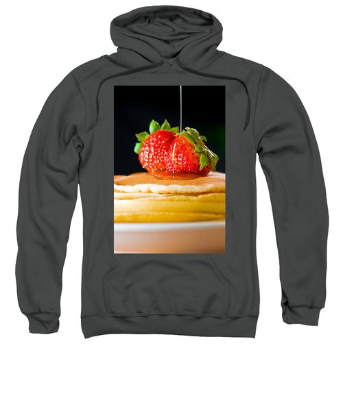 Strawberry Butter Pancake With Honey Maple Sirup Flowing Down Sweatshirt