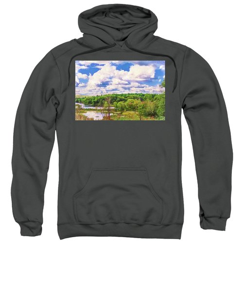 Striking Clouds Above Small Water Inlet And Green Trees Sweatshirt