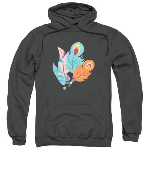 Stylized Peacock Feather Design Sweatshirt
