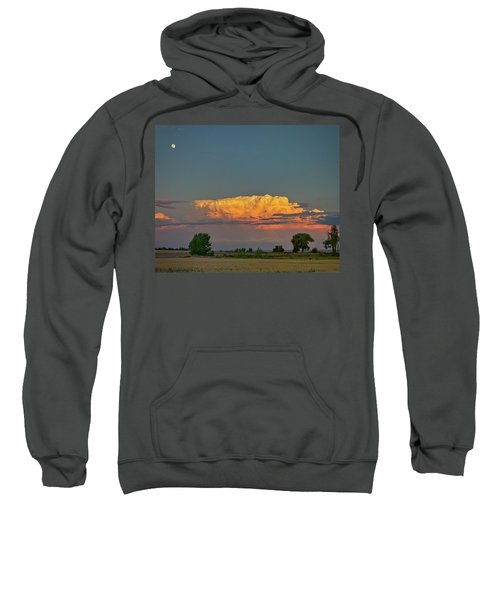 Sweatshirt featuring the photograph Summer Night Storms Brewing And Moon Above by James BO Insogna