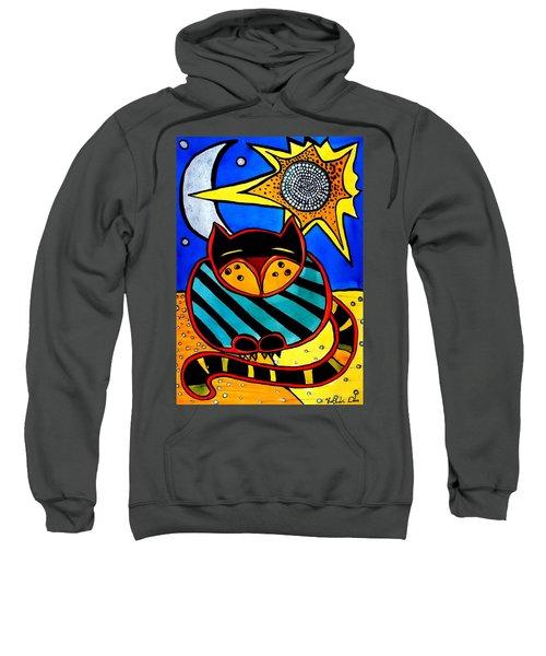 Sun And Moon - Honourable Cat - Art By Dora Hathazi Mendes Sweatshirt by Dora Hathazi Mendes