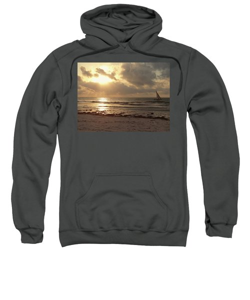 Sun Rays On The Water With Wooden Dhow Sweatshirt