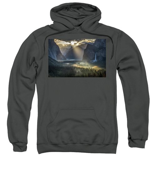 Sun Rays On Yosemite Valley Morning Fog Sweatshirt