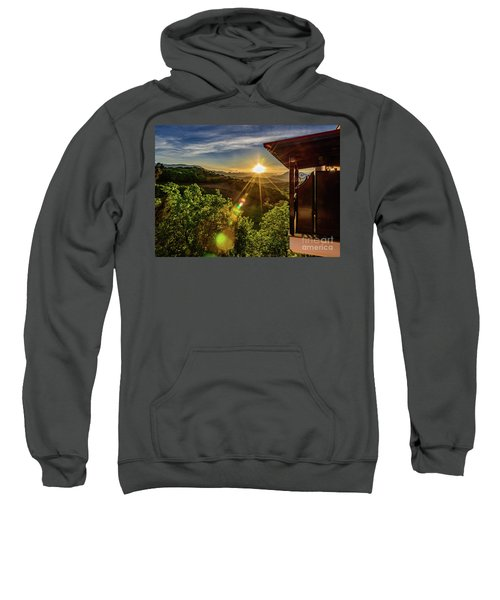 Sunburst View From Dellas Boutique Hotel Near Meteora In Kastraki, Kalambaka, Greece Sweatshirt