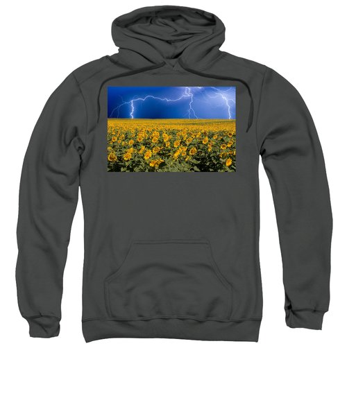 Sunflower Lightning Field  Sweatshirt by James BO  Insogna