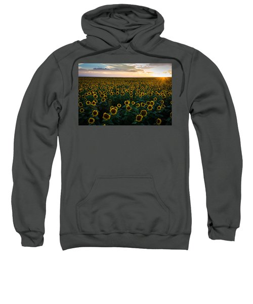 Sweatshirt featuring the photograph Sunflowers At Sunset by Stephen Holst
