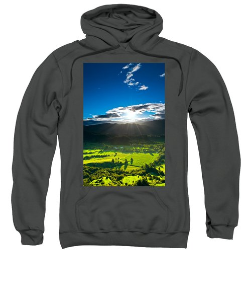 Sunrays Flood Farmland During Sunset Sweatshirt