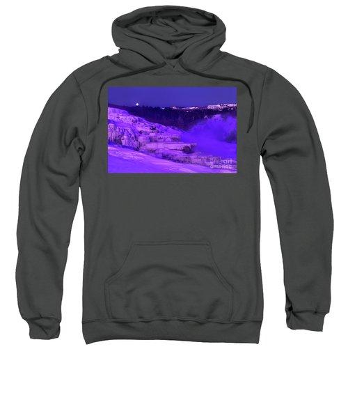 Sunrise And Moonset Over Minerva Springs Yellowstone National Park Sweatshirt