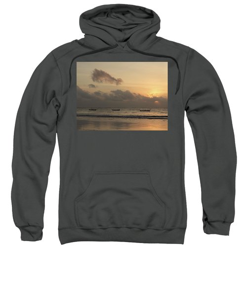 Sunrise On The Beach With Wooden Dhows Sweatshirt