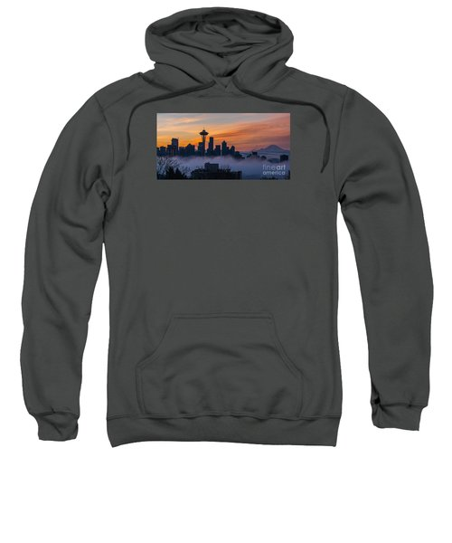 Sunrise Seattle Skyline Above The Fog Sweatshirt by Mike Reid