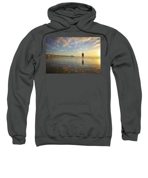 Sunrise Silhouette Down By The Pier. Sweatshirt