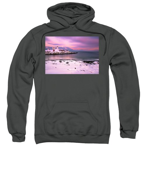 Sunset At Nubble Lighthouse In Maine In Winter Snow Sweatshirt