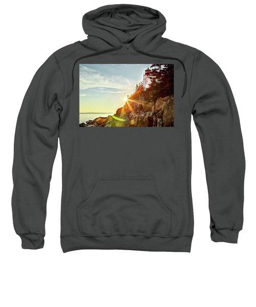Ocean Sunset On Maine's Bass Harbor Lighthouse Sweatshirt