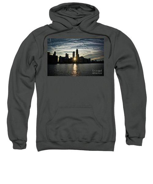 Sunset Over Chicago Skyline And Lake Michigan Sweatshirt