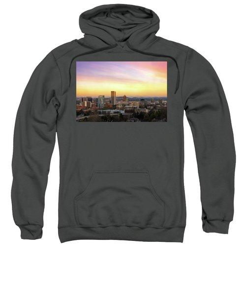 Sunset Over Portland Cityscape And Mt Hood Sweatshirt