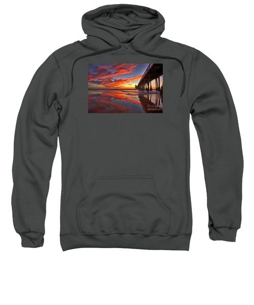 Sunset Reflections At The Imperial Beach Pier Sweatshirt