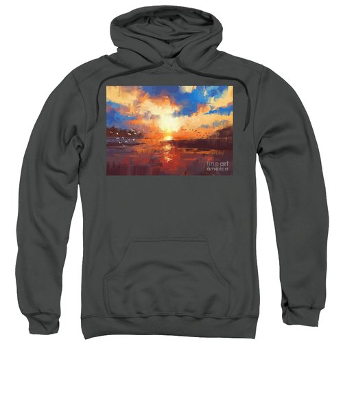 Sweatshirt featuring the painting Sunset by Tithi Luadthong