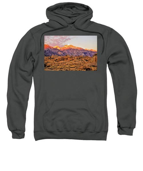 Supermoon Setting At Sunrise Over Mount Williamson In The Sierra Nevada Mountains Sweatshirt