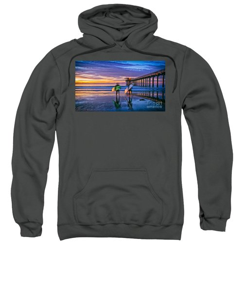 Surfers At Scripps Pier In La Jolla California Sweatshirt